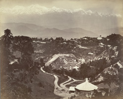 General view of Darjeeling, showing the Snowy Range, 40 miles distant, as seen from St Paul's School.